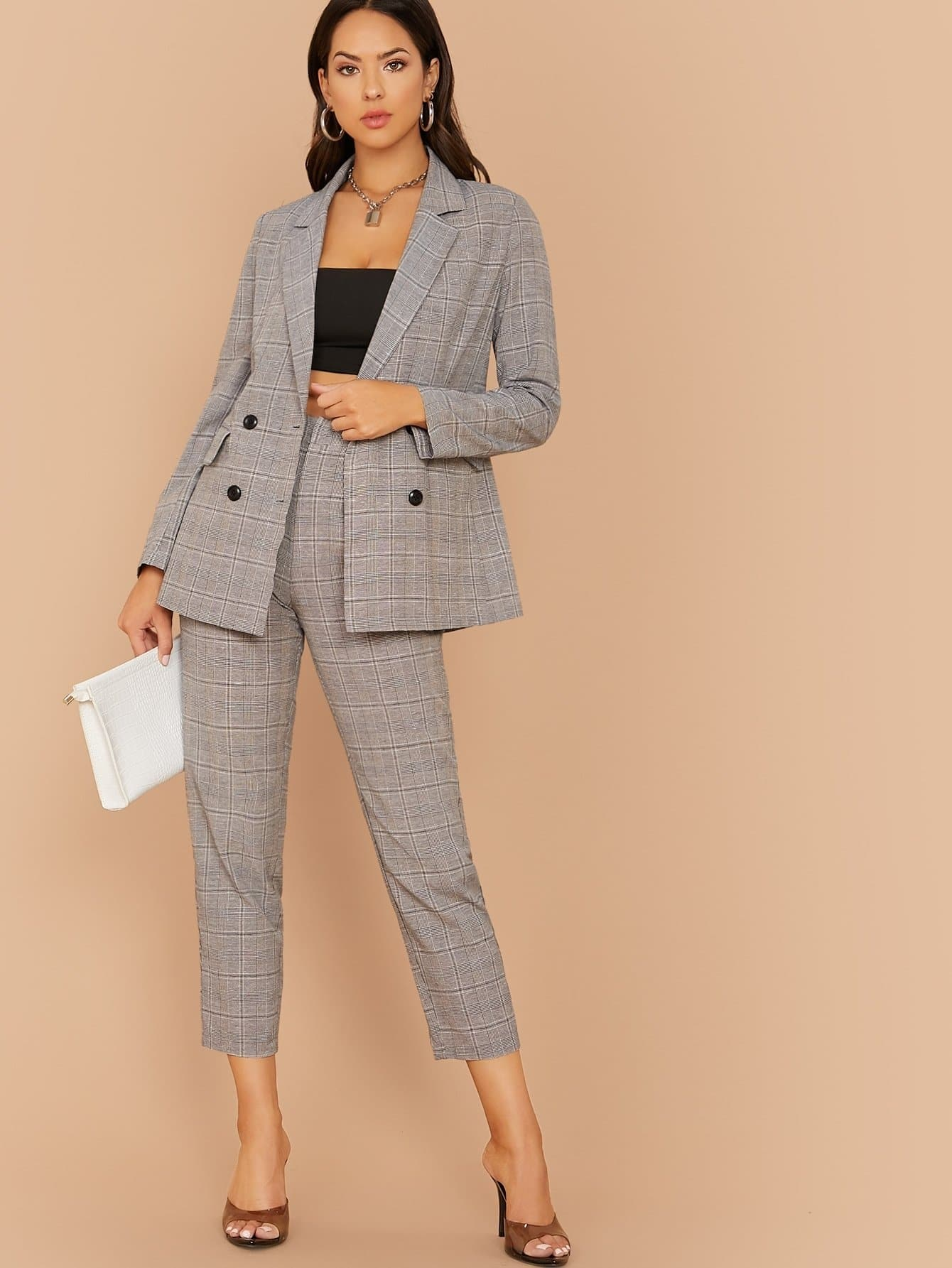 Notched Collar Buttoned Plaid Blazer & Pants Set - FLJ CORPORATIONS
