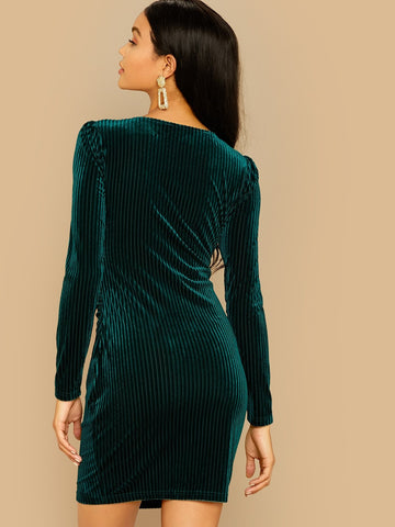 Wrap Ribbed Velvet Bodycon Dress - FLJ CORPORATIONS