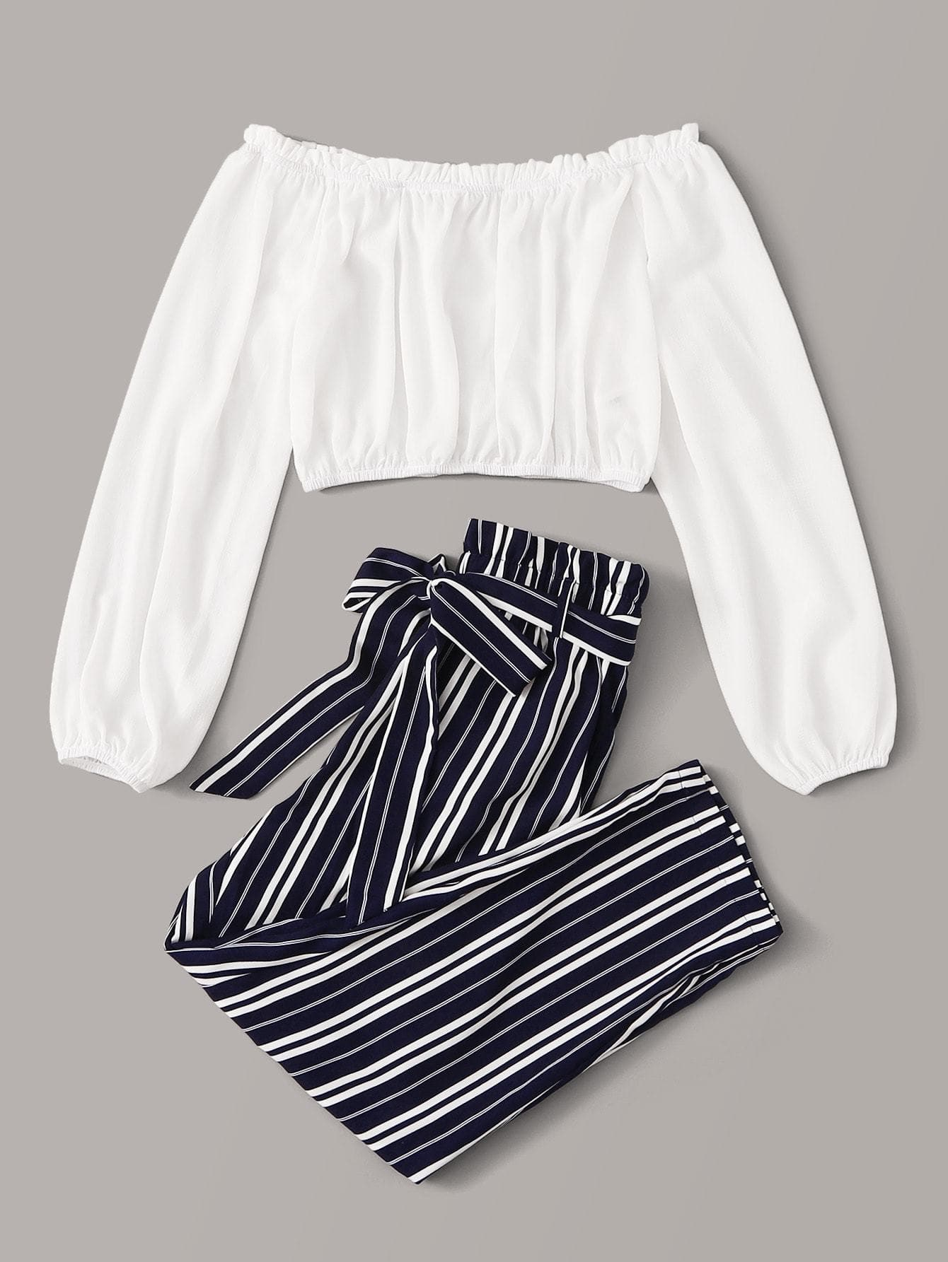 Frilled Trim Bardot Top & Paperbag Waist Belted Striped Pants Set - FLJ CORPORATIONS