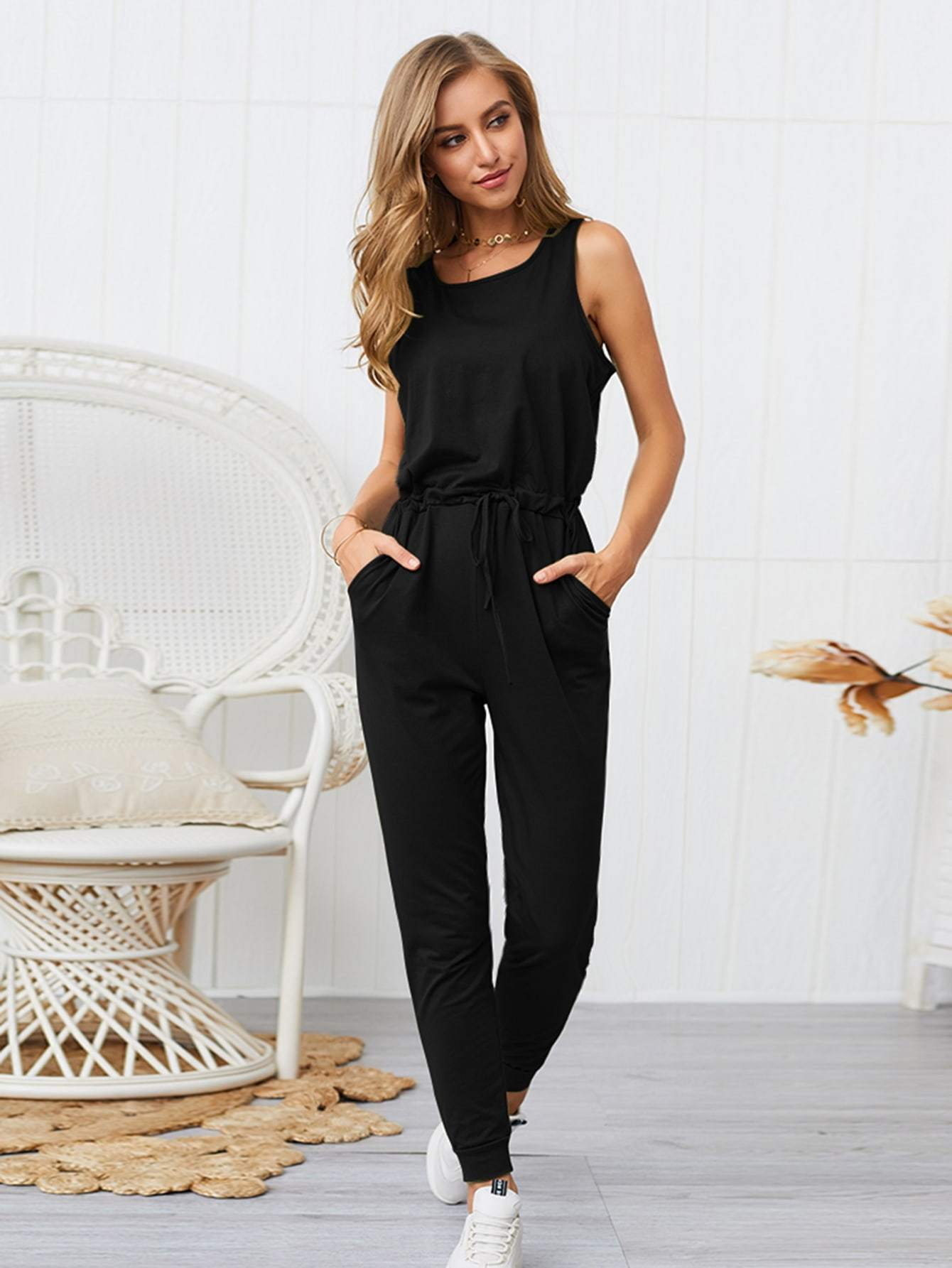 Solid Drawstring Waist Tank Jumpsuit - FLJ CORPORATIONS