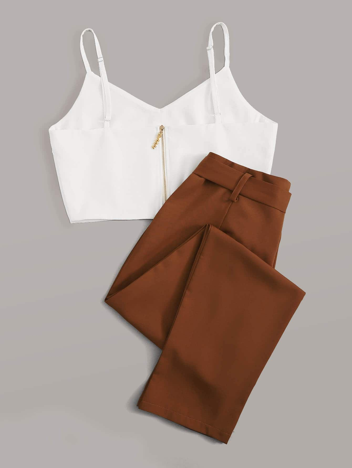 Solid Zip Back Cami Top With Belted Pants - FLJ CORPORATIONS