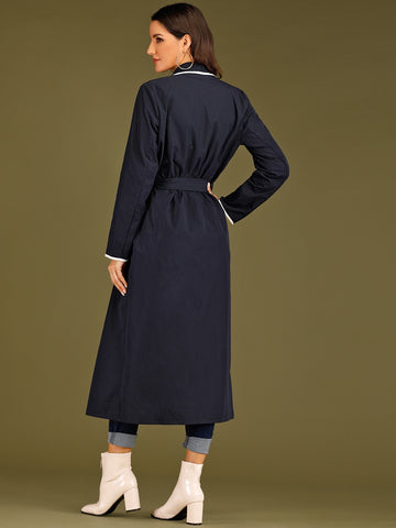 Waterfall Neck Contrast Binding Belted Coat - FLJ CORPORATIONS