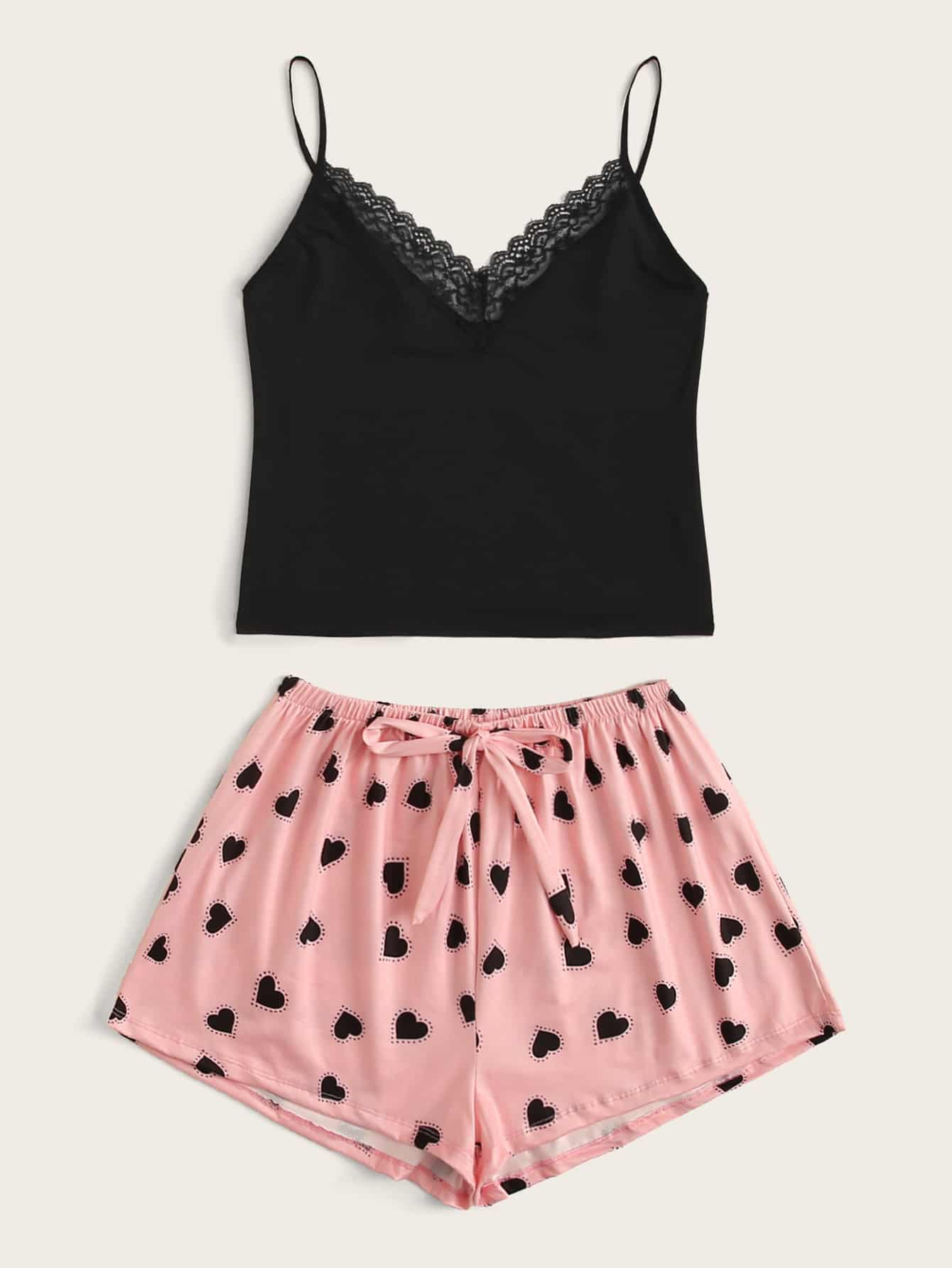 Lace Trim Cami Top With Heart Shorts PJ Set - FLJ CORPORATIONS
