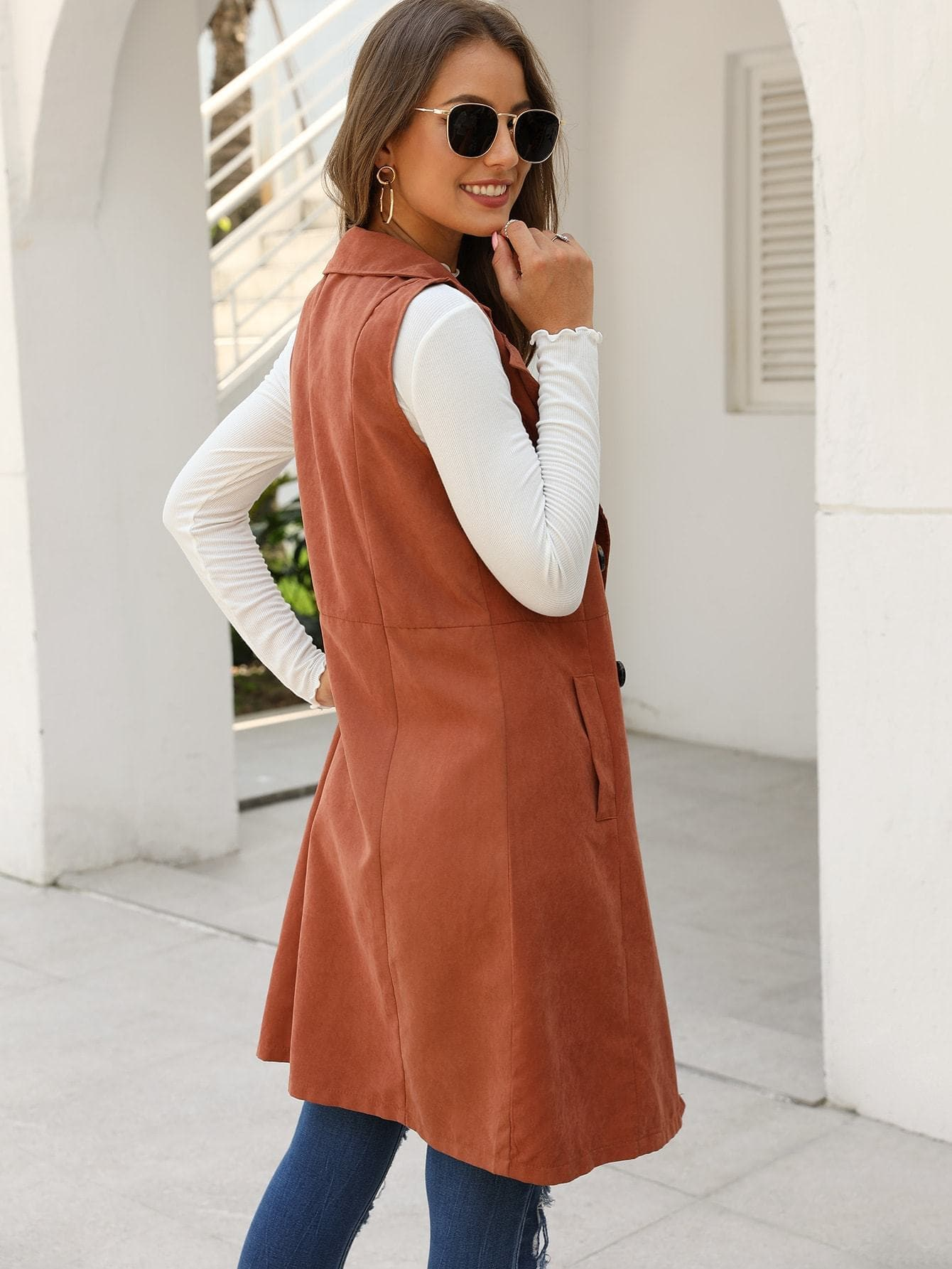 Solid Double-breasted Waterfall Collar Trench Vest - FLJ CORPORATIONS
