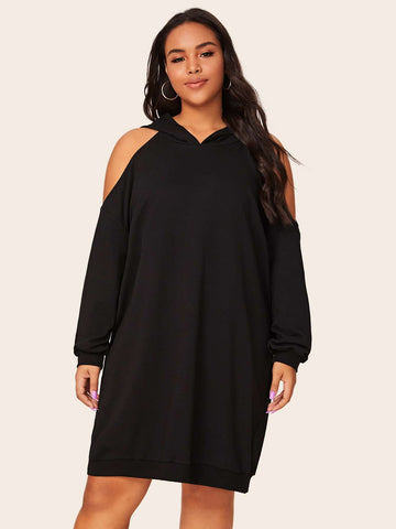 Plus Cold Shoulder Hooded Sweatshirt Dress - FLJ CORPORATIONS