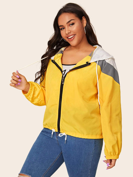 Plus Colorblock Hooded Windbreaker Jacket - FLJ CORPORATIONS
