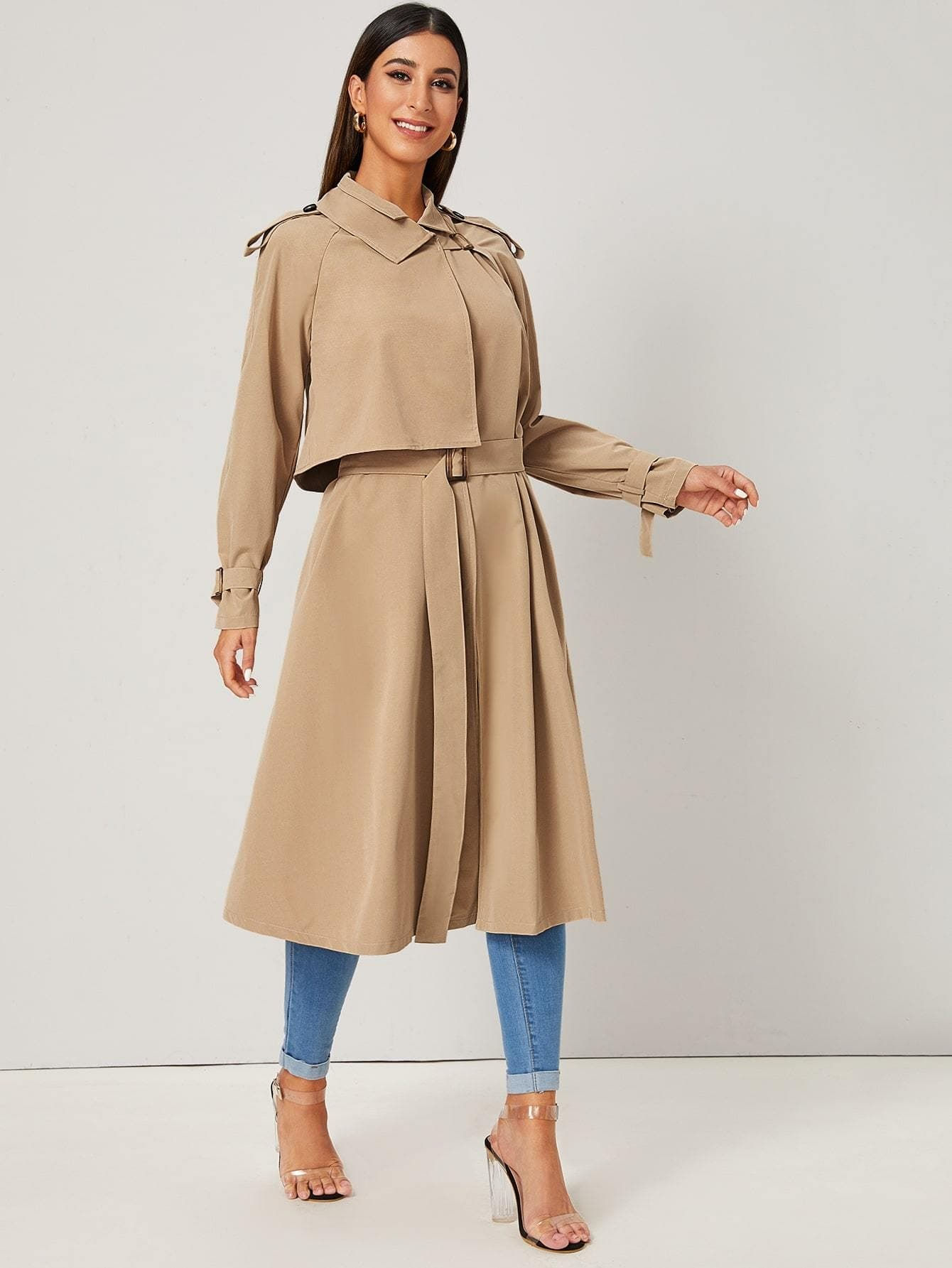 Raglan Sleeve Buckle Belted Trench Coat - FLJ CORPORATIONS