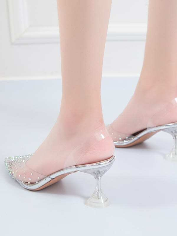 Point Toe Rhinestone Decor Stiletto Heels - FLJ CORPORATIONS