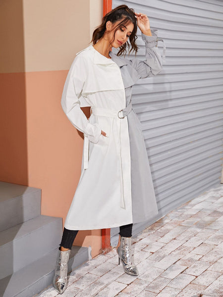 Button Front Belted Spliced Trench Coat - FLJ CORPORATIONS