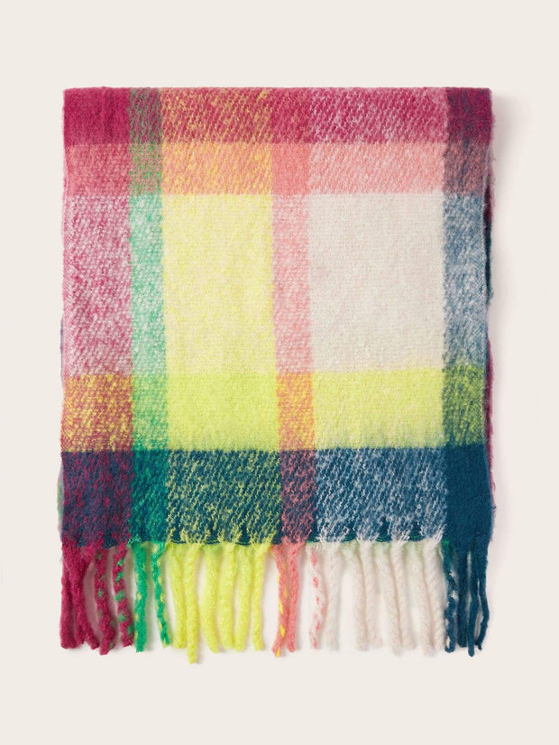 Plaid Pattern Tassel Scarf - FLJ CORPORATIONS