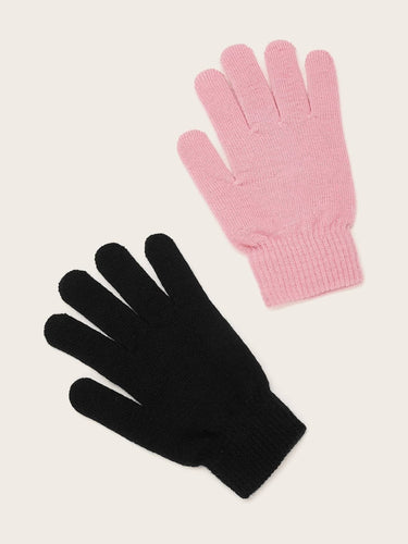 2pairs Solid Knit Gloves - FLJ CORPORATIONS