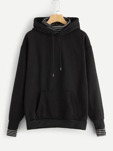 Plus Striped High Neck Pocket Patched Hoodie - FLJ CORPORATIONS