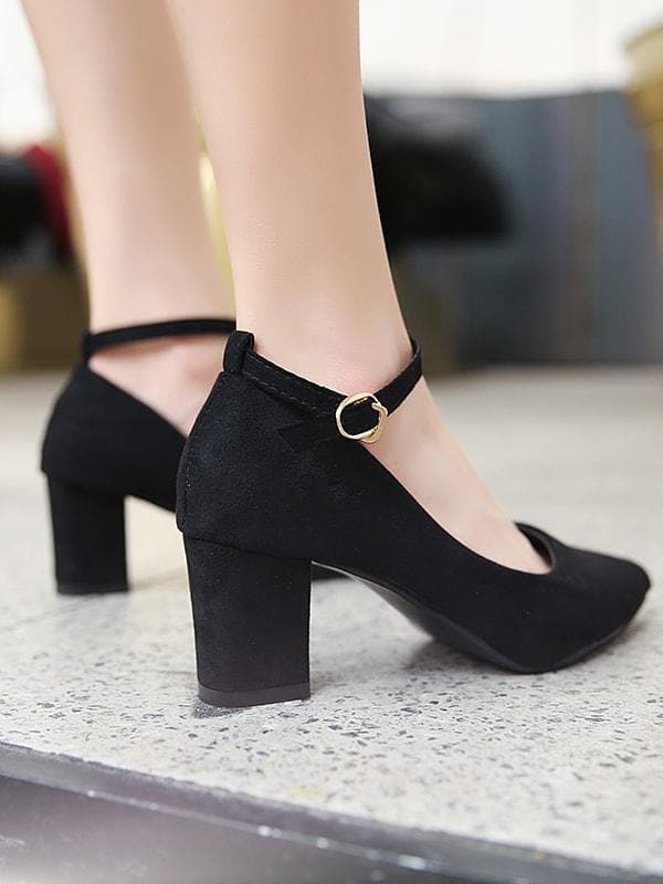 Point Toe Ankle Strap Chunky Heels - FLJ CORPORATIONS