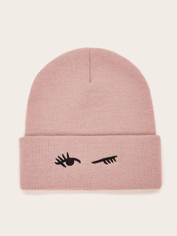 Eyelashes Embroidery Cuffed Beanie - FLJ CORPORATIONS
