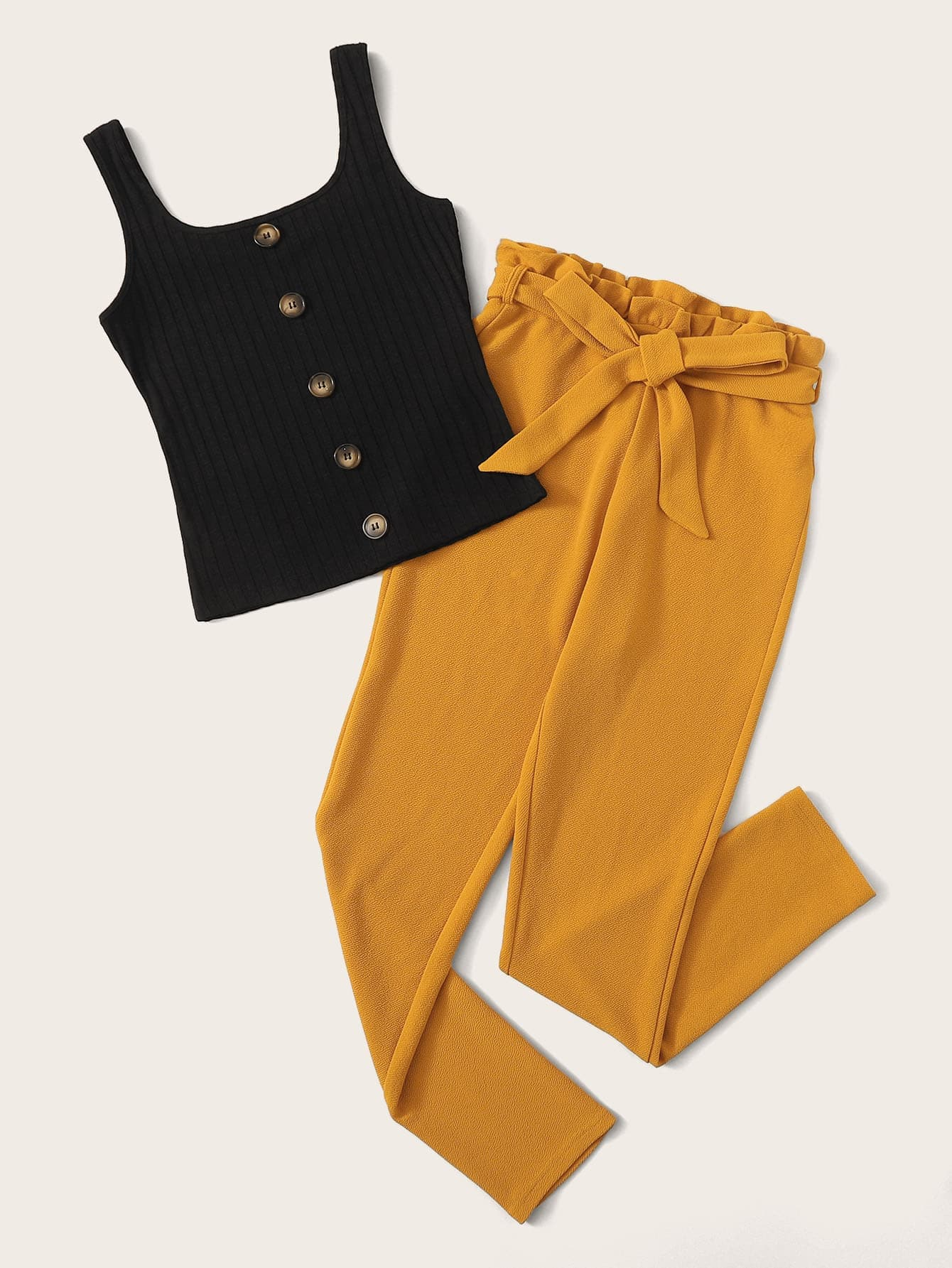 Button Front Rib-knit Tank & Paperbag Waist Pants Set - FLJ CORPORATIONS