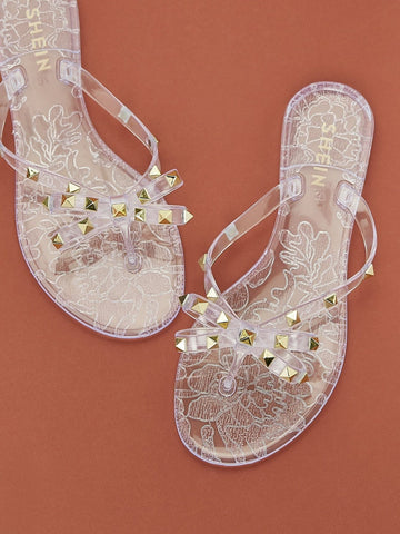 Studded Bow Tie Clear Jelly Flip Flop Sandals - FLJ CORPORATIONS