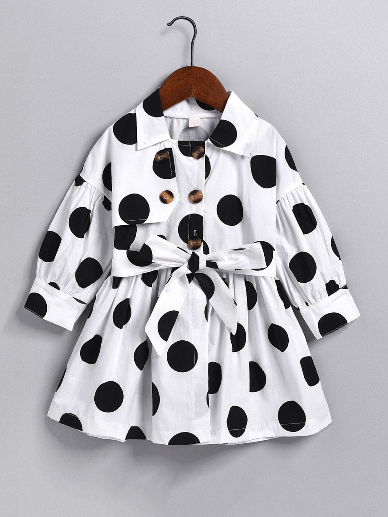 Toddler Girls Polka Dot Double Breasted Belted Trench Coat - FLJ CORPORATIONS