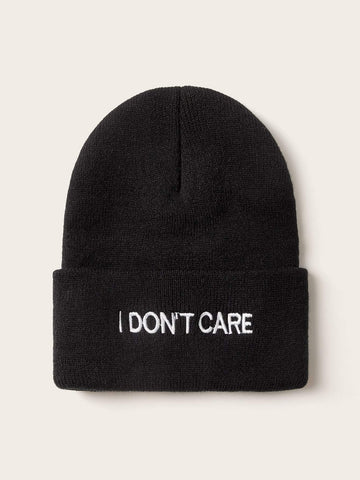 Slogan Embroidery Cuffed Beanie - FLJ CORPORATIONS