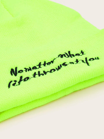 Slogan Embroidery Neon Green Beanie - FLJ CORPORATIONS