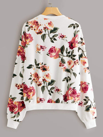 Plus Drop Shoulder Floral Print Pullover - FLJ CORPORATIONS