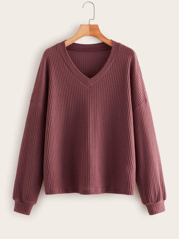 Plus Waffle Knit Drop Shoulder Sweater - FLJ CORPORATIONS