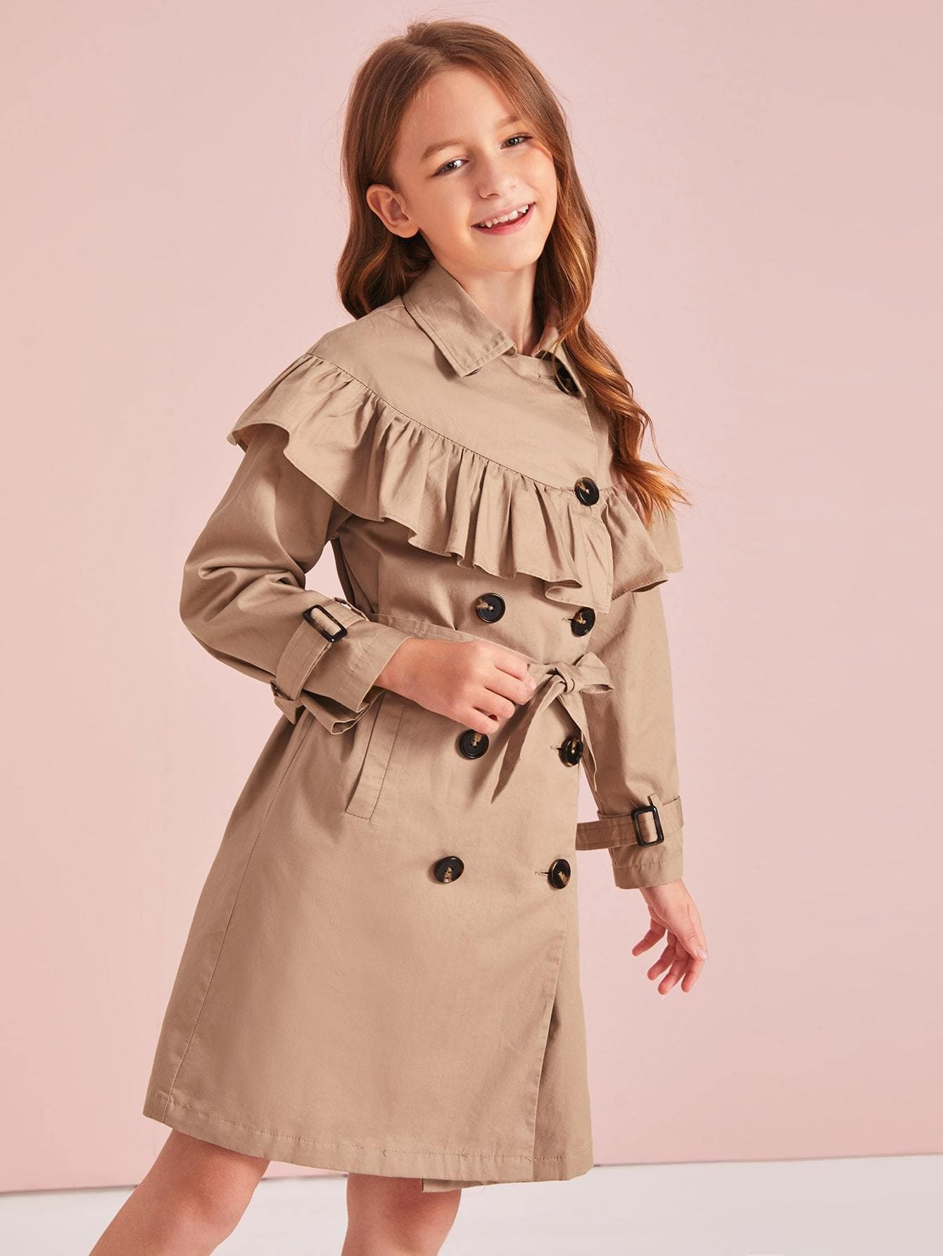 Girls Double Button Ruffle Trim Belt Trench Coat - FLJ CORPORATIONS