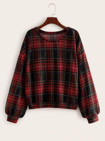 Plus Tartan Plaid Drop Shoulder Sweatshirt - FLJ CORPORATIONS
