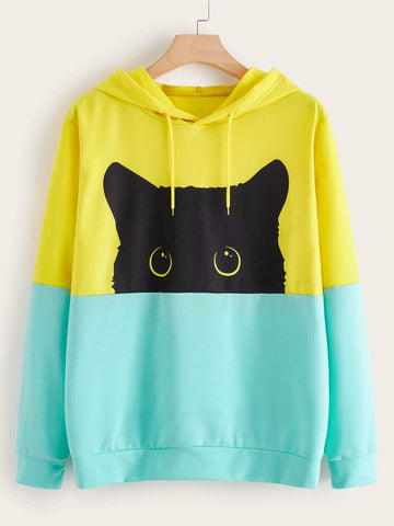 Plus Cut And Sew Cartoon Graphic Hoodie - FLJ CORPORATIONS