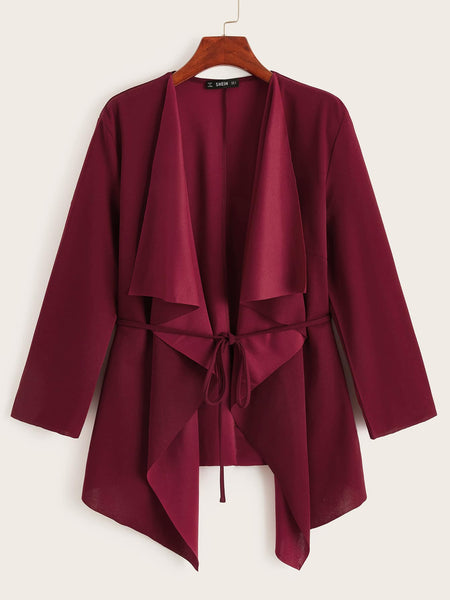 Plus Waterfall Collar Belted Coat - FLJ CORPORATIONS