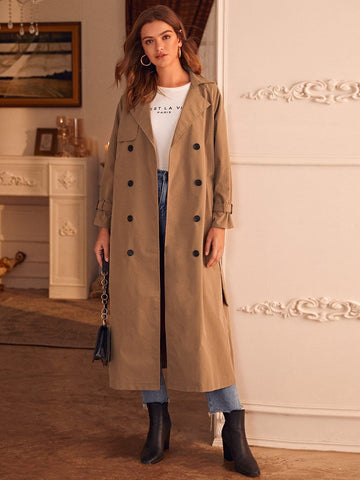 Double Breasted Belted Trench Coat - FLJ CORPORATIONS