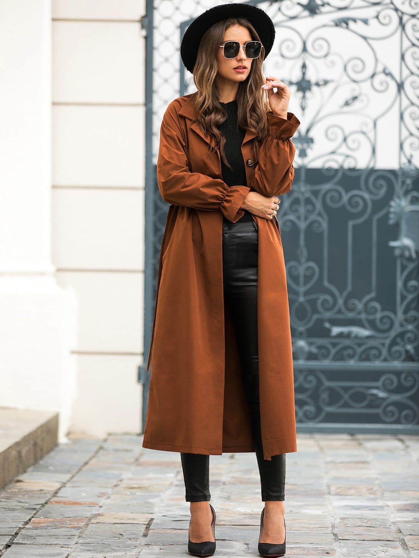 Solid Button Through Belted Longline Trench Coat - FLJ CORPORATIONS