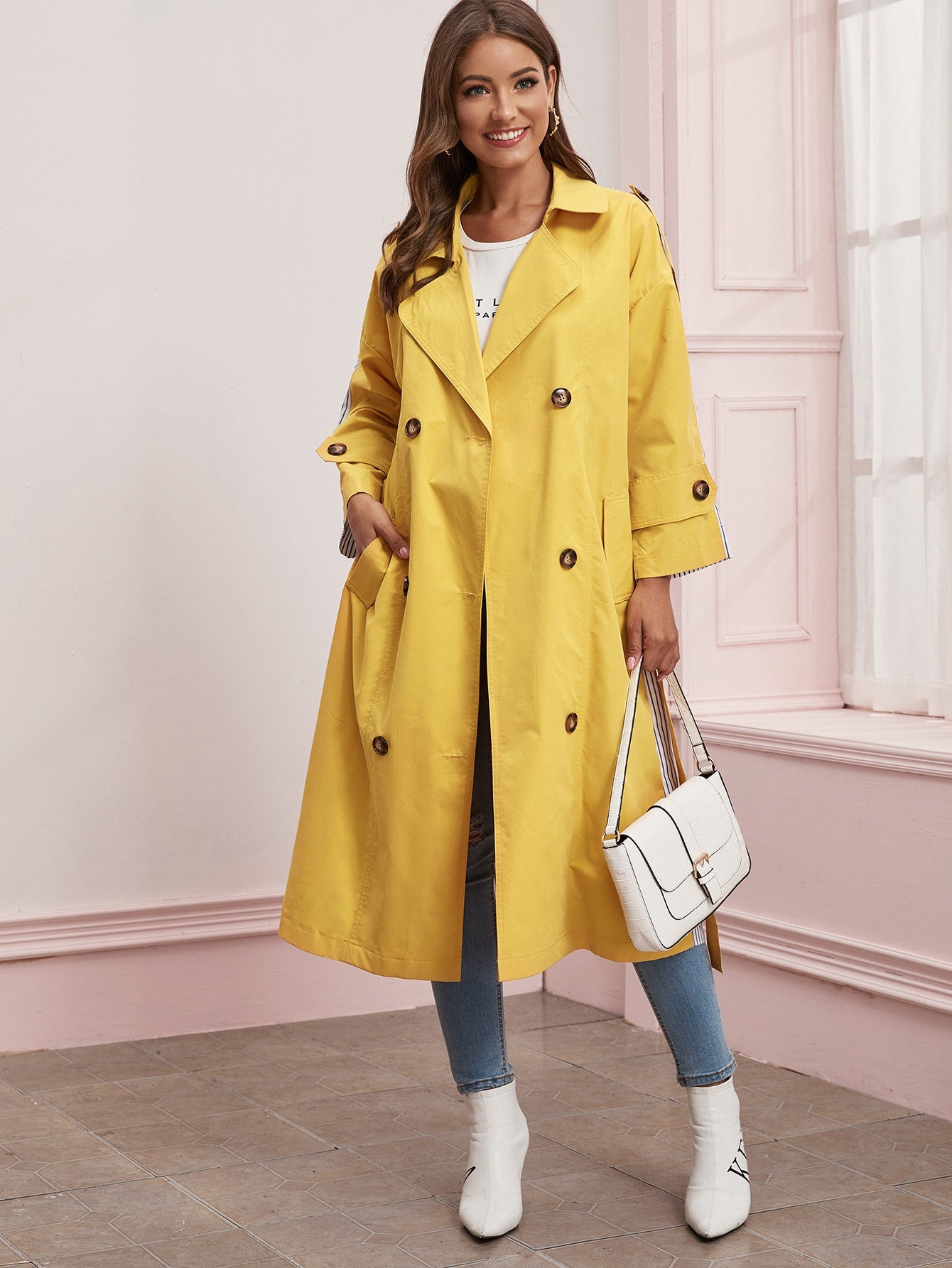 Two Tone Vertical Stripe Belted Trench Coat - FLJ CORPORATIONS