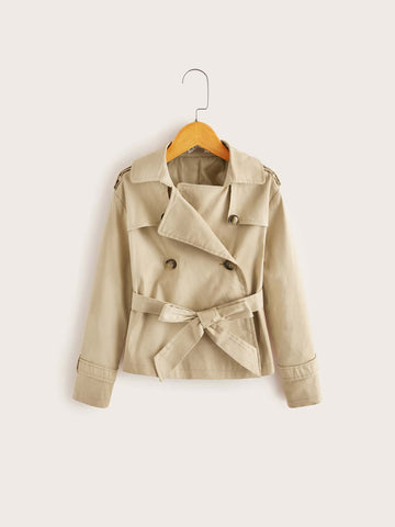 Girls Self Belted Double Breasted Wrap Trench Coat - FLJ CORPORATIONS