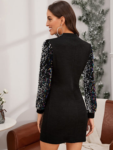 Mock-neck Sequin Sleeve Bodycon Dress - FLJ CORPORATIONS