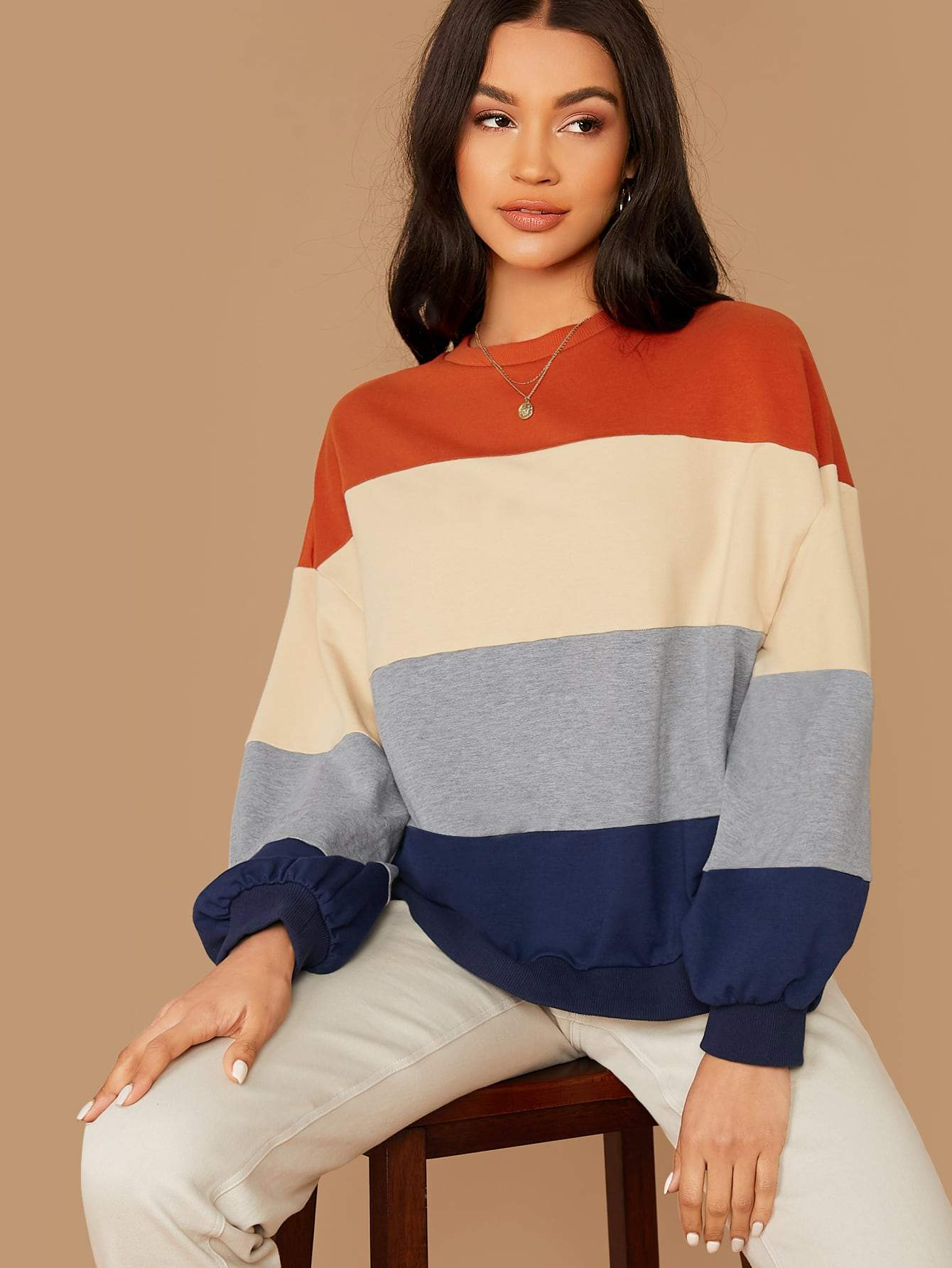 Striped Colorblock Lantern Sleeve Pullover - FLJ CORPORATIONS