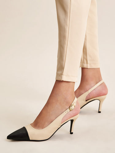 Two Tone Slingback Heels - FLJ CORPORATIONS