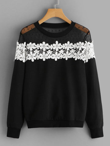 Plus Contrast Dobby Mesh Lace Panel Sweatshirt - FLJ CORPORATIONS