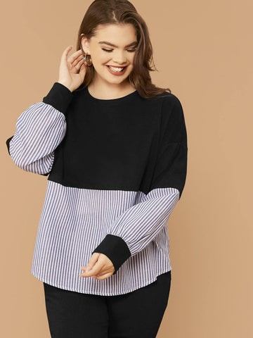 Plus Striped Color Block Mixed Media Pullover - FLJ CORPORATIONS