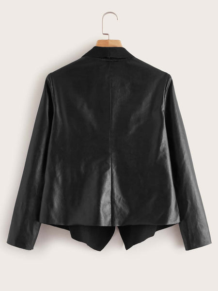 Plus Draped Collar Open Front Faux Leather Jacket - FLJ CORPORATIONS