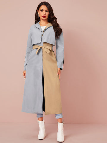 Two Tone Single Button Belted Trench Coat - FLJ CORPORATIONS