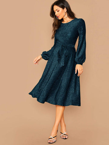 Self Belted Balloon Sleeve Glitter Dress - FLJ CORPORATIONS