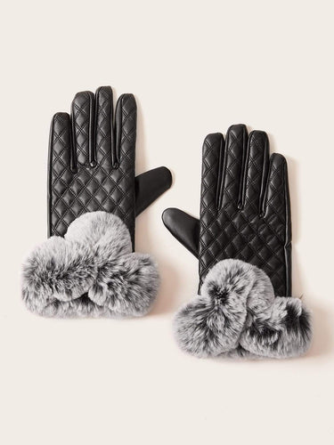 1pair Fluffy Pom Pom Decor Stitched Gloves - FLJ CORPORATIONS