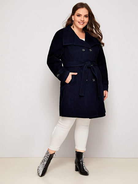 Plus Double Breasted Belted Waterfall Pea Coat - FLJ CORPORATIONS