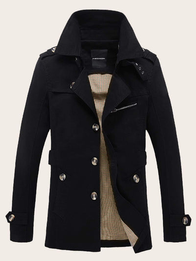 Men Lapel Neck Single Breasted Trench Coat - FLJ CORPORATIONS