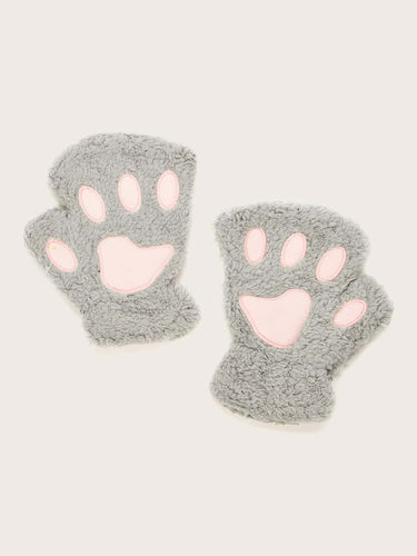 1pair Claw Pattern Faux Fur Gloves - FLJ CORPORATIONS