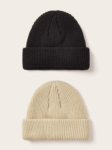 2pcs Solid Knitted Beanie - FLJ CORPORATIONS