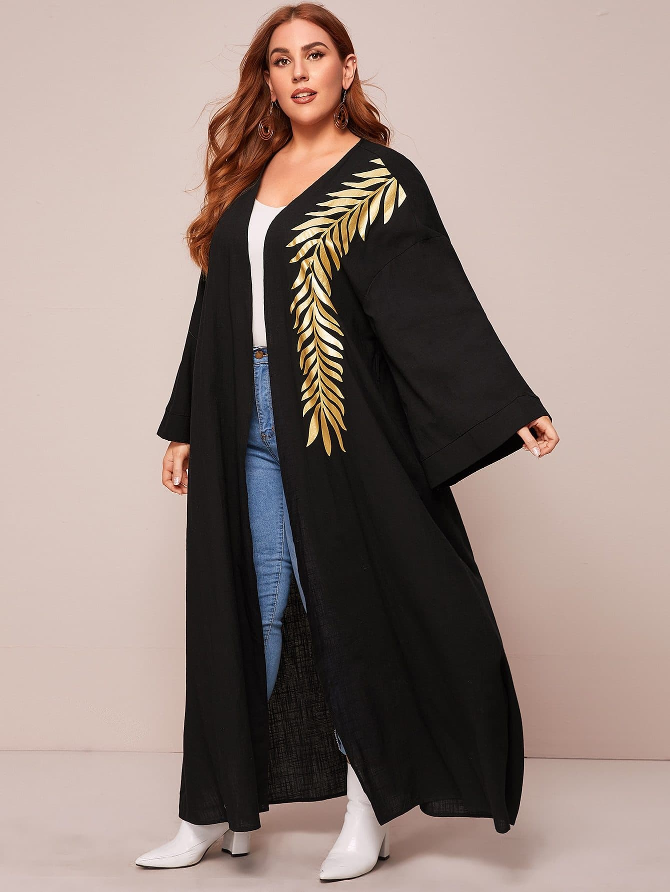 Plus Leaf Print Bell Sleeve Open Front Maxi Coat - FLJ CORPORATIONS