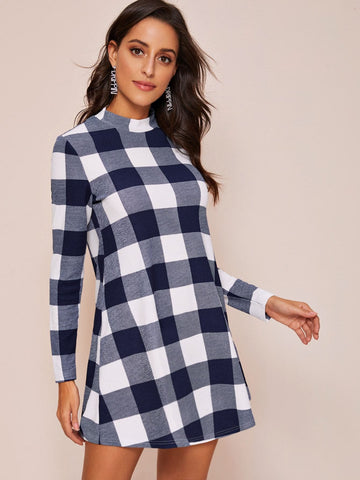 Mock Neck Buffalo Plaid Dress - FLJ CORPORATIONS