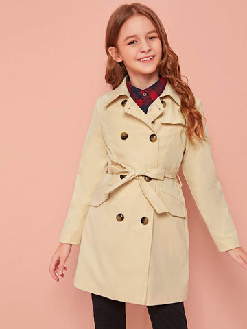 Girls Flap Detail Self Belted Double Breasted Trench Coat - FLJ CORPORATIONS
