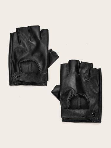 1pair Leather Open Finger Gloves - FLJ CORPORATIONS